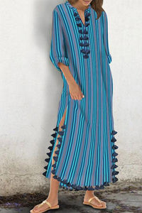 Cotton/Polyester Printed Stripe  Tassel Casual Shift Maxi Dress - lolabuy