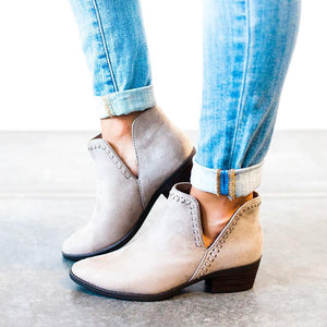 Fashion Pointed Deep V Middle Ankle Boots - lolabuy