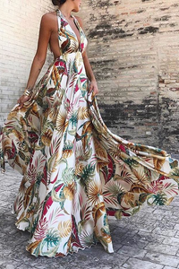 Sexy Deep V Collar Floral Printed Blinding Maxi Dresss - lolabuy