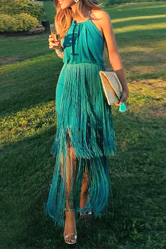 Sexy Green Tassel Halter Sleeveless Maxi Dress - lolabuy