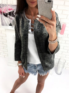 Fashion Plain Round Neck Long Sleeve Sweater Cardigan