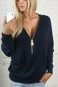 V Neck  Belt Loops  Plain Casual Sweatshirt - lolabuy