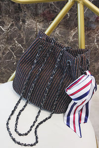 Fashion Color Block Knitting Bowknot Chain One Shoulder Bag - lolabuy