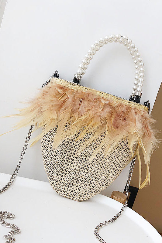 Fashion Plain Knitting Feather Side Chain One Shoulder Hand Bag - lolabuy