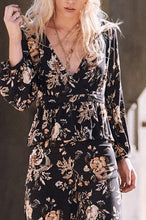 Sexy Floral V Collar Long Sleeve Lace-Up Falbala Hem Blouse