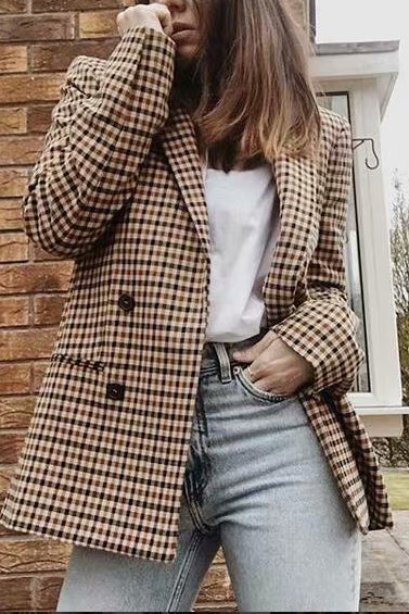 Fashion Plaid V Collar Long Sleeve Button Jacket Cardigan - lolabuy