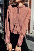 Sexy Plain Loose Button Collar Long Sleeve Blouse - lolabuy