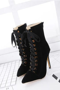 Sexy Plain Lace-Up Mules High Heel Boots - lolabuy