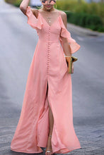 Sexy Plain Falbala Sleeve Braces Fork Maxi Dress - lolabuy