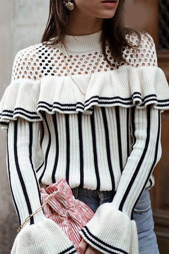 Sexy Loose Strip Hollow Out Falbala Shoulder Long Sleeve Sweater