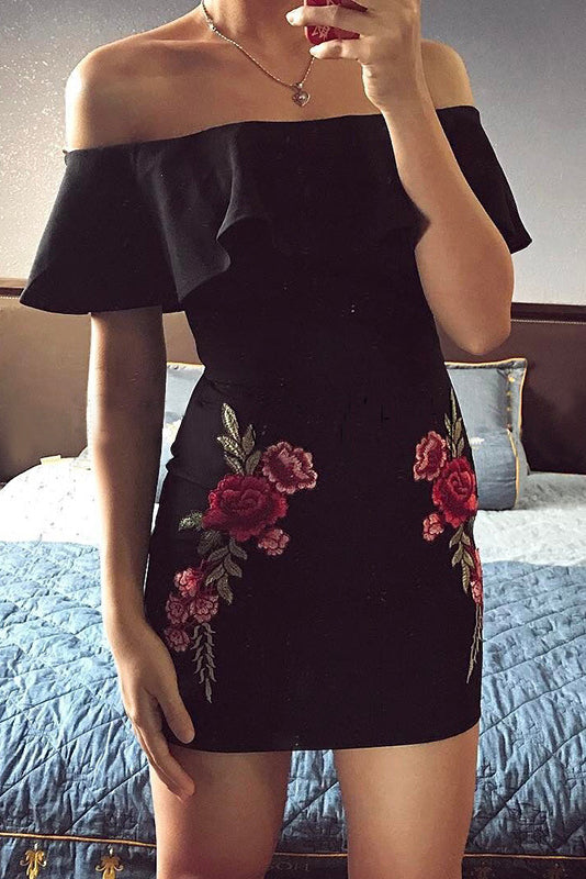 Sexy Embroidery Off Shoulder Ruffled Side Bodycon Dress - lolabuy