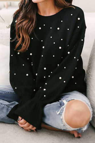 Fashion Loose Pearl Round Neck Long Ruffled Sleeve Sweater