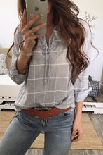 Fashion Loose Plaid Lace-Up V Collar Long Sleeve Blouse