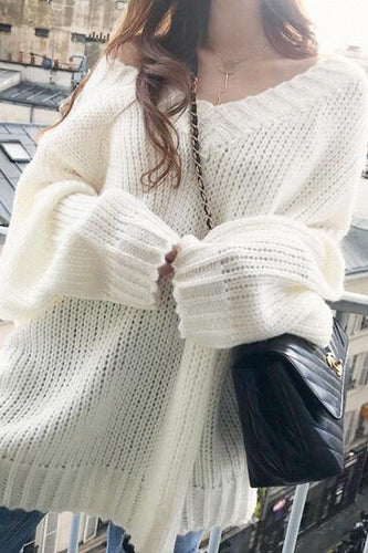 Sexy Loose Plain Deep V Collar Long Sleeve Sweater