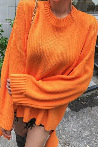 Fashion Loose Plain Round Neck Long Sleeve Sweater