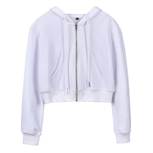 Slim Long Sleeves Zipper Hoodies Short Sports Cardigan
