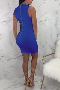 Sexy Plain Deep V Collar Sleeveless Button Bodycon Dress - lolabuy