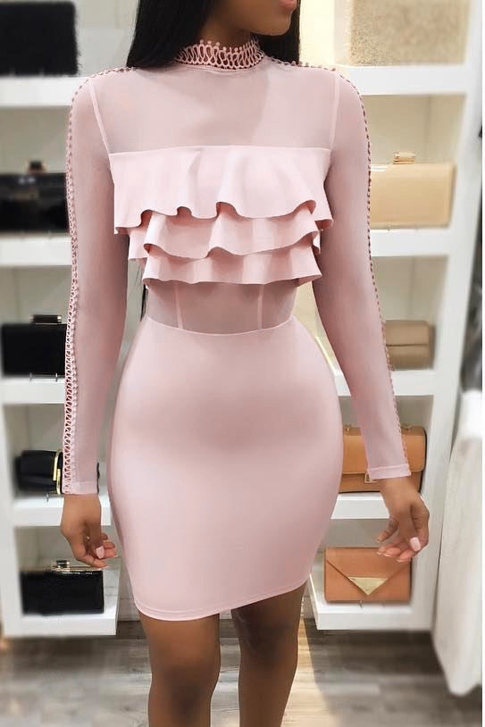 Sexy Plain High Collar Long Sleeve Ruffled Front Bodycon Dress - lolabuy