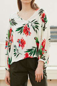Sexy Loose Floral V Collar Long Sleeve Blouse - lolabuy