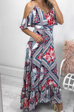 Sexy Floral Ruffled Front Waistband Braces Vacation Maxi Dress