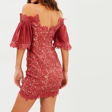 Sexy Slim Lace Deep V Collar Puff Short Sleeve Bodycon Dress - lolabuy