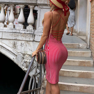 Sexy Strip Sleeveless Backless Braces Bodycon Dress - lolabuy