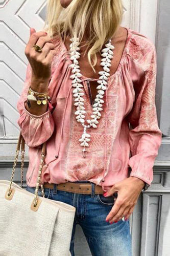 Lace Up Fashion V Neck  Long Sleeve Blouses - lolabuy