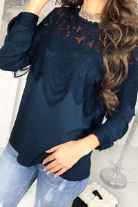 Sexy Loose Plain Lace High Collar Long Sleeve Blouse - lolabuy