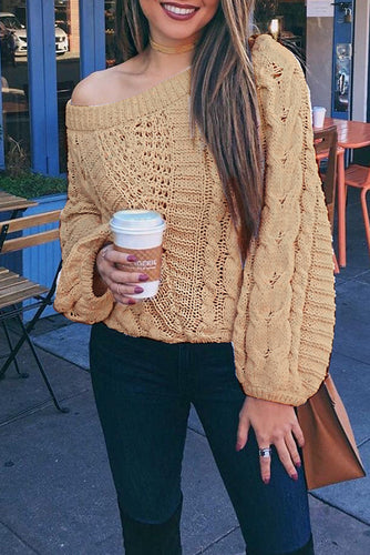 Sexy Plain Loose Round Neck Puff Long Sleeve Sweater