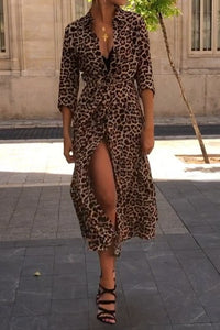 Sexy Leopard Print Deep V Collar Long Sleeve Lace-Up Fork Maxi Dress - lolabuy