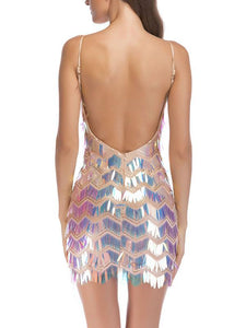 Sexy Halter Sling Sequined Mini Dress - lolabuy