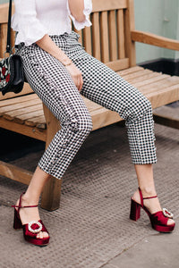 Fashion Casual Plaid Ruffled Side Suit Long Pants