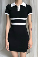 Sexy Slim Strip Button V Collar Short Sleeve Bodycon Dress - lolabuy