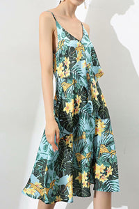 Sexy Floral Sleeveless Vacation Braces Skater Dress - lolabuy