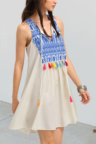 Sexy Floral V Collar Sleeveless Fringe Front Shift Dress