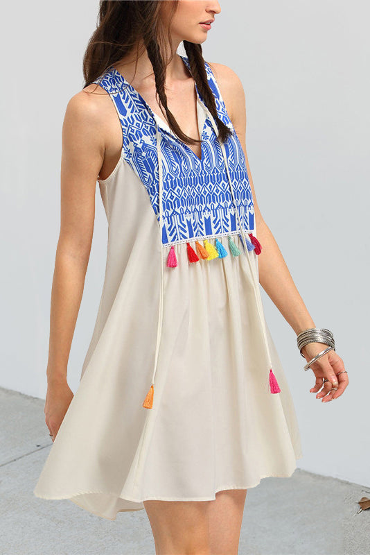 Sexy Floral V Collar Sleeveless Fringe Front Shift Dress - lolabuy