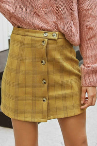 Sexy Plaid High Waist Button Short Skirt