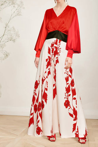Sexy Elegant V Collar Puff Long Sleeve Floral Hem Maxi Dress