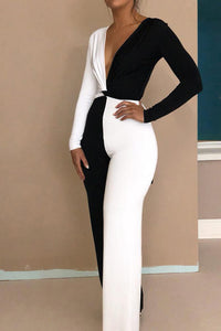 Sexy Black & White Deep V Collar Long Sleeve Jumpsuit - lolabuy