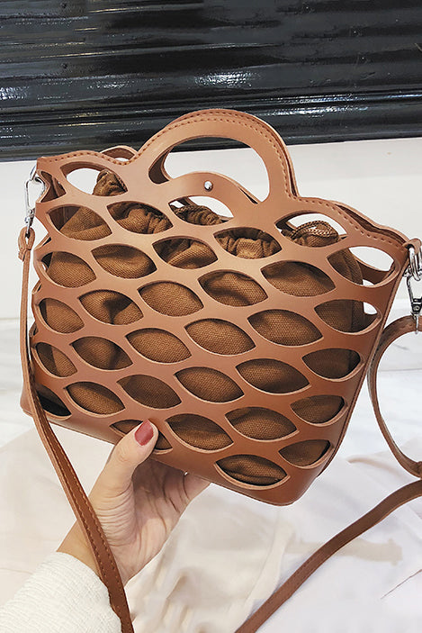 Fashion Plain Hollow Out One Shoulder Hand Bag - lolabuy