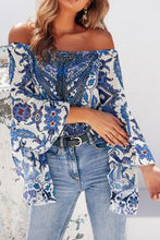 Sexy Loose Floral Off Shoulder Flare Long Sleeve Blouse
