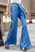 Fashion Casual Loose Plain Lace-Up Waistband Bell-Bottom Long Pants - lolabuy