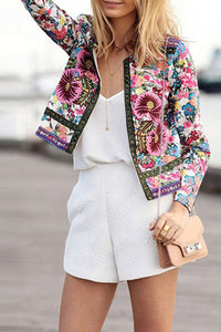 Fashion Vacation Casual Floral Long Sleeve Jacket Suit Outerwear - lolabuy