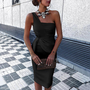 Fashion Plain Sleeveless Bodycon Dress Mini   Dress - lolabuy