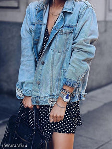 Fashion Loose Casual Hole Slimming Denim Jacket - lolabuy