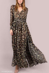 Sexy Leopard Print Long-Sleeved Belt Chiffon Maxi Dress - lolabuy