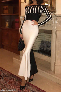 Elegant Noble Slim Black & White Off Shoulder Long Sleeve Evening Dress