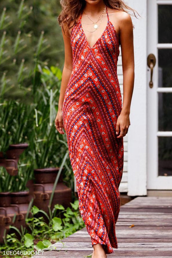Fashion Sexy Casual Vacation Strip Sleeveless Halter Maxi Dress - lolabuy