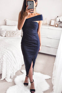 Elegant Noble Slim Plain Off Shoulder Fork Evening Dress - lolabuy