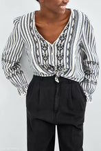 Fashion Vacation Casual Loose Strip V Collar Long Sleeve Blouse - lolabuy